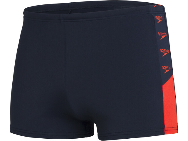 speedo Boom Logo Splice Aquashorts Men, true navy/dragonfire orange